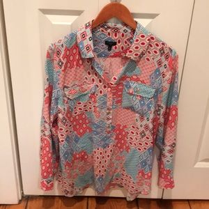 Talbots long tail blouse LP Multi colored